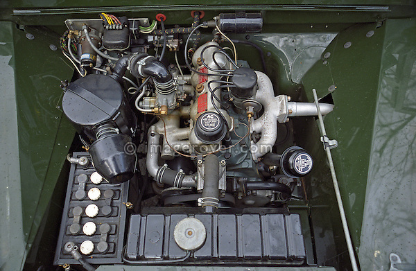 Engine bay of a perfectly restored and award winning 1953 2.0 litre petrol Land Rover Series One 80 inch. --- No releases available. Automotive trademarks are the property of the trademark holder, authorization may be needed for some uses.