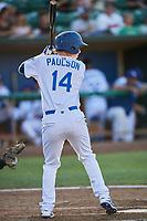 Dillon Paulson (14) of the Ogden Raptors bats against the Missoula Osprey at Lindquist Field on July 12, 2018 in Ogden, Utah. Missoula defeated Ogden 11-4. (Stephen Smith/Four Seam Images)