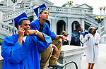 (l-r) Lavonne Johnson and Alan Wright are two of the sixty-nine seniors graduating from Steelton-Highspire. Before they walk across the stage, they take a break, relax, and ease their nerves. .JUSTIN A. SHAW/The Patriot-News