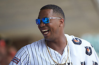 Eloy Jimenez (16) of the Charlotte Knights during the game against the Indianapolis Indians at BB&T BallPark on August 22, 2018 in Charlotte, North Carolina.  The Indians defeated the Knights 6-4 in 11 innings.  (Brian Westerholt/Four Seam Images)