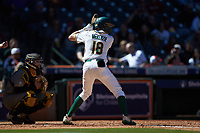 Jared McKenzie (18) of the Baylor Bears at bat against the Missouri Tigers in game one of the 2020 Shriners Hospitals for Children College Classic at Minute Maid Park on February 28, 2020 in Houston, Texas. The Bears defeated the Tigers 4-2. (Brian Westerholt/Four Seam Images)
