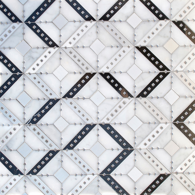 Beaton, a waterjet stone mosaic, shown in polished Carrara, Afyon White, Nero Marquina, and brushed Aluminum, is part of the Bright Young Things™ collection by New Ravenna.