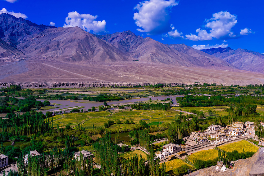 View from Spituk Monastery, Leh, Ladakh, Jammu and Kashmir State, India.