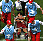 05 July 2006: Luis Figo (POR) is carried off the field on a stretcher.  He would return and play the entire game. France defeated Portugal 1-0 at the Allianz Arena in Munich, Germany in match 62, the second semifinal game, in the 2006 FIFA World Cup.