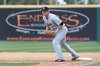 Kevin Cron (40) of the Visalia Rawhide in the field during a game against the Rancho Cucamonga Quakes at LoanMart Field on May 6, 2015 in Rancho Cucamonga, California. Visalia defeated Rancho Cucamonga, 7-2. (Larry Goren/Four Seam Images)