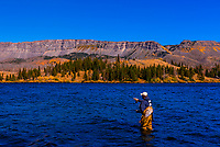 Fly fishing in Trappers Lake in the Flat Tops Wilderness (between Yampa and Meeker), Colorado USA. In 2002  the Big Fish Fire burned 17,056 acres in and near the Flat Tops Wilderness Area, including the land ringing Trappers Lake.