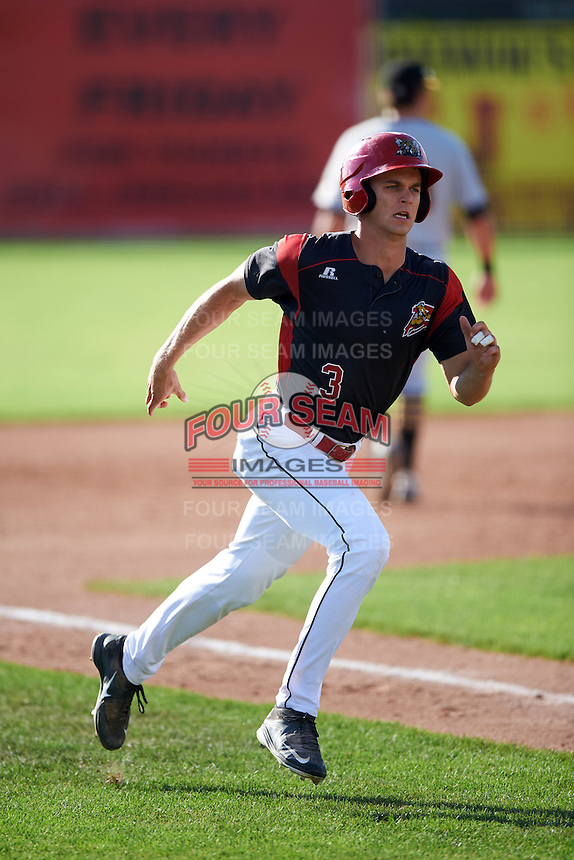 Batavia Muckdogs left fielder Walker Olis (3) running the bases during a game against the West Virginia Black Bears on August 21, 2016 at Dwyer Stadium in Batavia, New York.  West Virginia defeated Batavia 6-5. (Mike Janes/Four Seam Images)