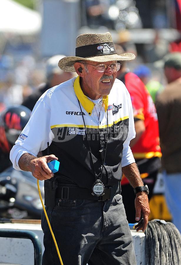 Jul. 17, 2010; Sonoma, CA, USA; NHRA chief starter Rick Stewart during qualifying for the Fram Autolite Nationals at Infineon Raceway. Mandatory Credit: Mark J. Rebilas-