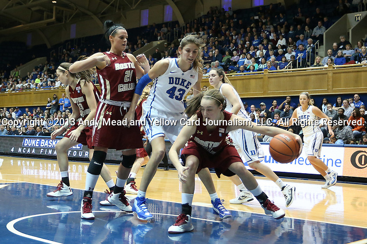 27 January 2013: Boston College's Nicole Boudreau (11), with help from Kristen Doherty (21), tries to play the ball away from Duke's Allison Vernerey (FRA) (43). The Duke University Blue Devils played the Boston College Eagles at Cameron Indoor Stadium in Durham, North Carolina in an NCAA Division I Women's Basketball game. Duke won the game 80-56.