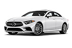 Stock pictures of low aggressive front three quarter view of a 2019 Mercedes Benz CLS-Coupe CLS450 4 Door Sedan