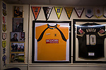 Archive photographs and other memorabilia on display in the social club before Prescot Cables played Brighouse Town in a Northern Premier League division one north fixture at Valerie Park. Founded in 1884, the 'Cables' in their name came from the largest local employer, British Insulated Cables and they have played in their current ground, also known as Hope Street, since 1906. Prescott won the match 2-1 watched by a crowd of 189.