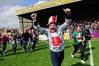Lincoln City fans celebrate winning the Vanarama National League <br /> <br /> Photographer Chris Vaughan/CameraSport<br /> <br /> Vanarama National League - Lincoln City v Macclesfield Town - Saturday 22nd April 2017 - Sincil Bank - Lincoln<br /> <br /> World Copyright &copy; 2017 CameraSport. All rights reserved. 43 Linden Ave. Countesthorpe. Leicester. England. LE8 5PG - Tel: +44 (0) 116 277 4147 - admin@camerasport.com - www.camerasport.com