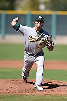 Oakland Athletics pitcher Jordan Schwartz (57) during an Instructional League game against the San Francisco Giants on October 13, 2014 at Giants Baseball Complex in Scottsdale, Arizona.  (Mike Janes/Four Seam Images)