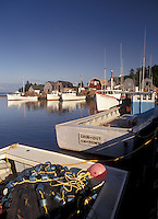 lobster fishing boats, Prince Edward Island, Canada, P.E.I., Gulf of St. Lawrence, Fishing boats docked in the harbor of the fishing village of French River on Prince Edward Island.