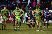 Charlie Ewels of Bath Rugby looks on at the final whistle. Anglo-Welsh Cup Semi Final, between Bath Rugby and Northampton Saints on March 9, 2018 at the Recreation Ground in Bath, England. Photo by: Patrick Khachfe / Onside Images