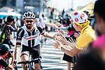 Simon Geschke (GER) Team Sunweb arrives at sign on before the Tour de France Saitama Critérium 2017 held around the streets os Saitama, Japan. 4th November 2017.<br /> Picture: ASO/Pauline Ballet | Cyclefile<br /> <br /> <br /> All photos usage must carry mandatory copyright credit (© Cyclefile | ASO/Pauline Ballet)