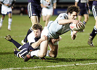 Oxford / Cambridge.26th Pcubed Varsity Rugby League Match.Twickenham Stoop, Feb 28, 2006.Pic : Max Flego... Alex Drysdale touches down to score Cambridge's second try of the game......