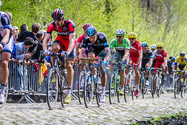 Peloton with Luke ROWE (GBR, SKY) on sector 18 Trouée d'Arenberg - Paris-Roubaix - 13th April 2014 - Photo by Thomas van Bracht / Peloton Photos