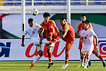 Farhat Musabekov of Kyrgyz Republic (L) competes for the ball with Hao Junmin (C) and Wu Xi of China (R) during the AFC Asian Cup UAE 2019 Group C match between China (CHN) and Kyrgyz Republic (KGZ) at Khalifa Bin Zayed Stadium on 07 January 2019 in Al Ain, United Arab Emirates. Photo by Marcio Rodrigo Machado / Power Sport Images