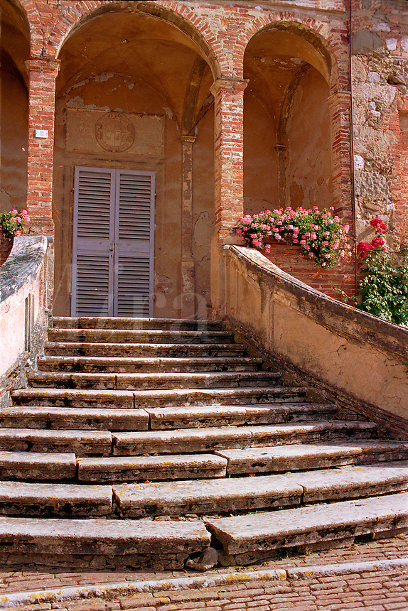 Stone steps and entry
