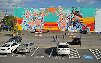 NWA Democrat-Gazette/MICHAEL WOODS &bull; @NWAMICHAELW<br /> Check out the progress of the new murals by the Brazilian street art duo known as Bicicleat Sem Freio are going up on 13 buildings around downtown Fort Smith on Friday September 11, 2015..