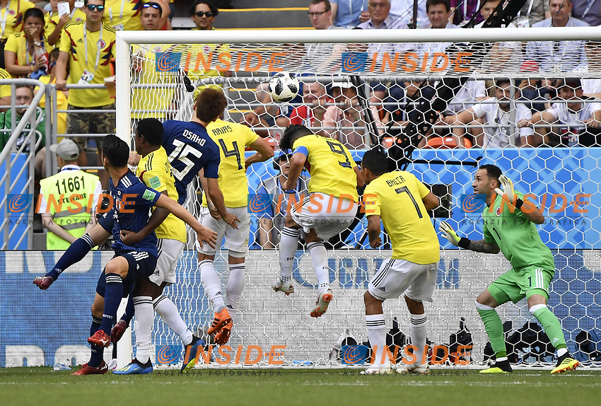 (180619) -- SARANSK, June 19, 2018 -- Yuya Osako (3rd L, front) of Japan scores a goal during a Group H match between Colombia and Japan at the 2018 FIFA World Cup WM Weltmeisterschaft Fussball in Saransk, Russia, June 19, 2018. ) (SP)RUSSIA-SARANSK-2018 WORLD CUP-GROUP H-COLOMBIA VS JAPAN HexCanling PUBLICATIONxNOTxINxCHN  <br /> Saransk 19-06-2018 Football FIFA World Cup Russia  2018 <br /> Colombia - Japan / Colombia - Giappone <br /> Foto Imago/Insidefoto