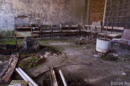 A hospital waiting room in Pripyat, a ghost town left deserted by the nuclear disaster in the Chernobyl power station nearby. 30 years on, the city is still heavily contaminated, unfit for human life. <br /> <br /> The Chernobyl nuclear disaster happened on 26 April 1986. .