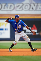 Biloxi Shuckers second baseman Yadiel Rivera (13) throws to first during the first game of a double header against the Pensacola Blue Wahoos on April 26, 2015 at Pensacola Bayfront Stadium in Pensacola, Florida.  Biloxi defeated Pensacola 2-1.  (Mike Janes/Four Seam Images)