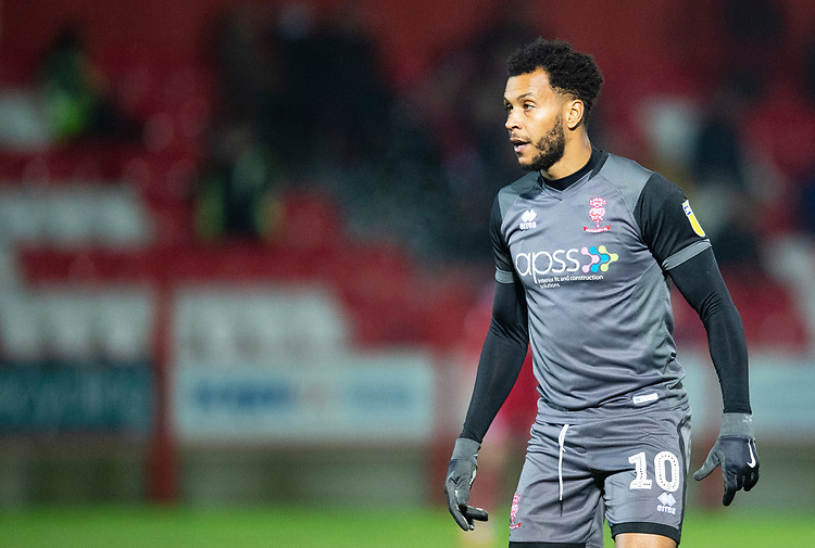 Lincoln City's Matt Green<br /> <br /> Photographer Andrew Vaughan/CameraSport<br /> <br /> The EFL Checkatrade Trophy Second Round - Accrington Stanley v Lincoln City - Crown Ground - Accrington<br />  <br /> World Copyright &copy; 2018 CameraSport. All rights reserved. 43 Linden Ave. Countesthorpe. Leicester. England. LE8 5PG - Tel: +44 (0) 116 277 4147 - admin@camerasport.com - www.camerasport.com