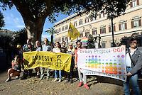 Roma, 15 Giugno 2016.<br /> Rome for Orlando.<br /> Membri della comunità Lgbt si radunano e lasciano fiori davanti l'ambasciata Usa in solidarietà delle vittime della strage ad Orlando.