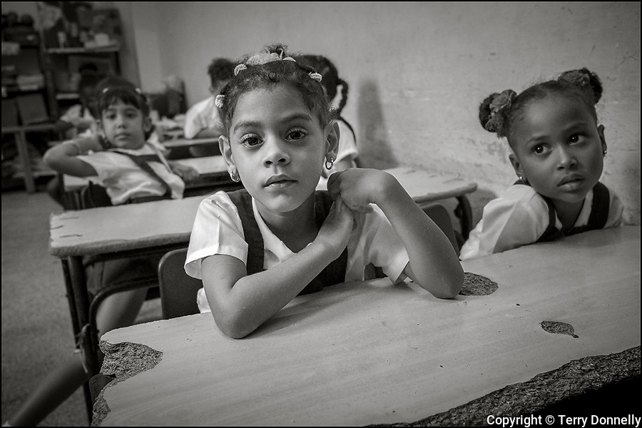 Havana, Cuba:<br /> Primary school students and teachers