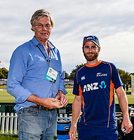 Kane Williamson of the Black Caps give Scyld Berry of The Daily and Sunday Telegraph a memento for covering his 450 match during Day 4 of the Second International Cricket Test match, New Zealand V England, Hagley Oval, Christchurch, New Zealand, 2nd April 2018.Copyright photo: John Davidson / www.photosport.nz