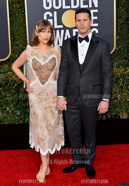 LOS ANGELES, CA. January 06, 2019: Andy Samberg & Joanna Newsom at the 2019 Golden Globe Awards at the Beverly Hilton Hotel.<br /> Picture: Paul Smith/Featureflash