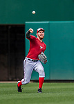 15 August 2017: Washington Nationals pitcher Stephen Strasburg takes some tossing practice prior to a game against the Los Angeles Angels at Nationals Park in Washington, DC. The Nationals defeated the Angels 3-1 in the first game of their 2-game series. Mandatory Credit: Ed Wolfstein Photo *** RAW (NEF) Image File Available ***
