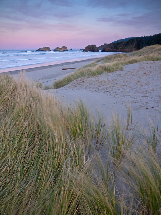 Sunrise along Cannon Beach along the northern Oregon coast, USA