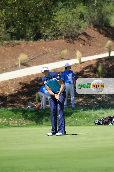 Simon Thornton (IRL) on the 18th during Thursday's Round 1 of The Open De Espana at The PGA Catalunya Resort. 15th May 2014.<br /> Picture:  Thos Caffrey / www.golffile.ie