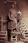 American artist sculptor Harriet Hosmer ( 1830-1908) posing with sculpture