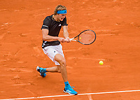 Paris, France, 3 june, 2019, Tennis, French Open, Alexander Zverev (GER) in action aganst Italian Fognini<br /> Photo: Henk Koster/tennisimages.com
