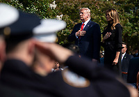 United States President Donald J. Trump and first lady Melania Trump stand for the playing of Taps at a ceremony at the Pentagon during the 18th anniversary commemoration of the September 11 terrorist attacks, in Arlington, Virginia on Wednesday, September 11, 2019. <br /> Credit: Kevin Dietsch / Pool via CNP /MediaPunch