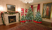 """The 2016 White House Christmas decorations are previewed for the press at the White House in Washington, DC on Tuesday, November 29, 2016. Pictured are the decorations in the China Room. The first lady's office released the following statement to describe those decorations, """"This year's holiday theme, 'The Gift of the Holidays,' reflects on not only the joy of giving and receiving, but also the true gifts of life, such as service, friends and family, education, and good health, as we celebrate the holiday season.""""<br /> Credit: Ron Sachs / CNP"""