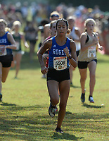 NWA Democrat-Gazette/ANDY SHUPE<br /> Rogers' Kaitlyn Ruiz nears the finish line Saturday, Oct. 5, 2019, during the Chile Pepper Cross Country Festival at Agri Park in Fayetteville. Visit nwadg.com/photos to see more photographs from the races.