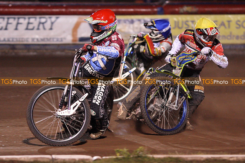 Heat 13: Lee Richardson (red), Nicolai Klindt (blue) and Troy Batchelor (yellow) - Lakeside Hammers vs Peterborough Panthers - Elite League Speedway at Arena Essex Raceway - 19/08/11 - MANDATORY CREDIT: Gavin Ellis/TGSPHOTO - Self billing applies where appropriate - 0845 094 6026 - contact@tgsphoto.co.uk - NO UNPAID USE.