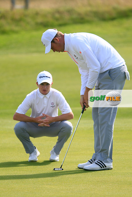 Paul Kenner and Sean Towndrow (ENG) during the Home Internationals day 2 foursomes matches supported by Fairstone Financial Management Ltd. at Royal Portrush Golf Club, Portrush, Co.Antrim, Ireland.  13/08/2015.<br /> Picture: Golffile | Fran Caffrey<br /> <br /> <br /> All photo usage must carry mandatory copyright credit (&copy; Golffile | Fran Caffrey)
