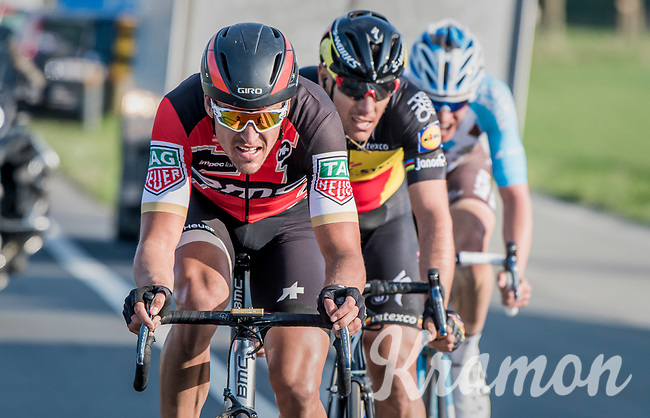 race leaders Greg Van Avermaet (BEL/BMC), Philippe Gilbert (BEL/Quick Step floors) &amp; Oliver Naesen (BEL/AG2R-LaMondiale) forcing the pace towards the finish<br /> <br /> 60th E3 Harelbeke (1.UWT)<br /> 1day race: Harelbeke &rsaquo; Harelbeke - BEL (206km)