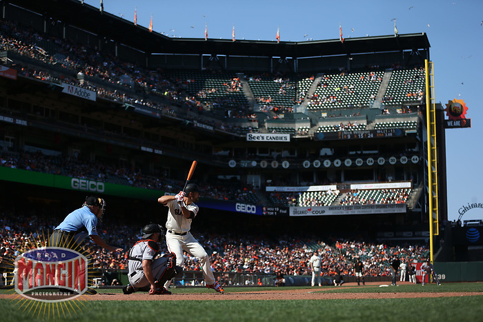 SAN FRANCISCO, CA - JULY 9:  Mac Williamson #51 of the San Francisco Giants bats against the Miami Marlins during the game at AT&T Park on Sunday, July 9, 2017 in San Francisco, California. (Photo by Brad Mangin)