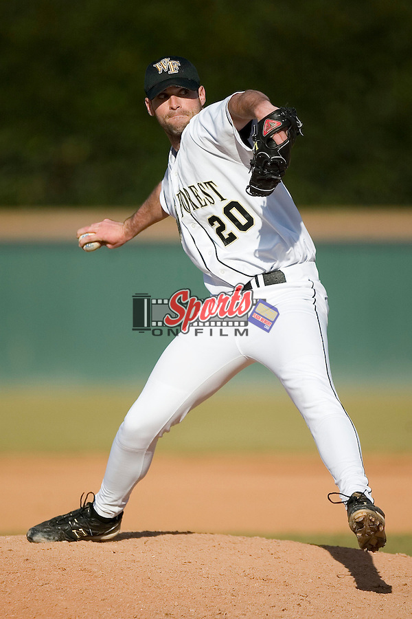 Wake Forest's Kirby Wedekind (20) delivers a pitch to the plate versus Charlotte at Gene Hooks Stadium in Winston-Salem, NC, Tuesday, February 27, 2007.  The Demon Deacons defeated the 49'ers 9-7 in 10 innings.
