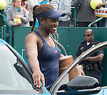 Sloane Stephens (USA) wins the final, a trophy, and a car against Elena Vesnina (RUS) 7-6, 6-2