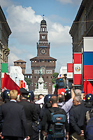The demonstrators during the italian first president Matteo Renzi in Milan for EXPO, on May 13, 2014. Photo: Adamo Di Loreto/BuenaVista*photo
