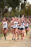 November 1, 2014; Sunnyvale, CA, USA; Loyola Marymount Lions runner Grace Graham-Zamudio (33), Loyola Marymount Lions runner Danielle Shanahan (36), BYU Cougars runner Andrea Harrison (4) competes during the WCC Cross Country Championships at Baylands Park.