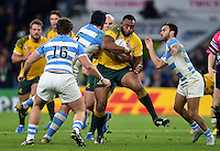 Sekope Kepu of Australia takes on the Argentina defence. Rugby World Cup Semi Final between Argentina v Australia on October 25, 2015 at Twickenham Stadium in London, England. Photo by: Patrick Khachfe / Onside Images